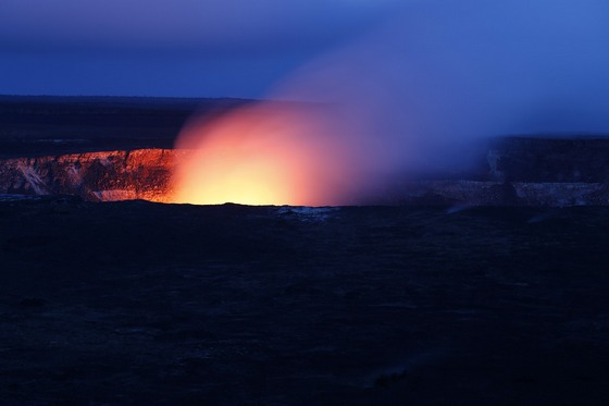 An active volcano, seen at night