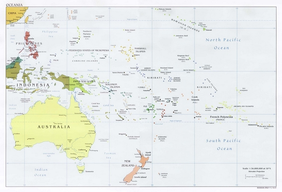 Map of Oceania, with Australia, New Zealand and Papua New Guinea