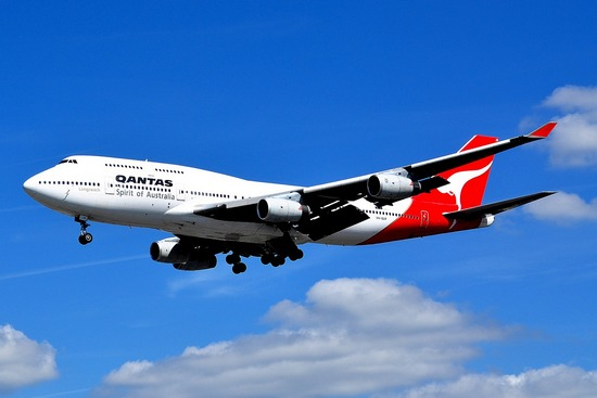 Australia's QANTAS plane in flight