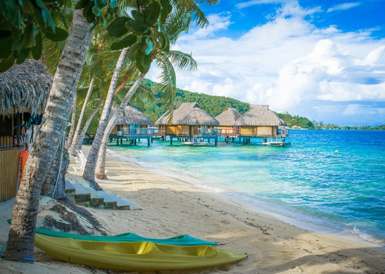 Beach resort in South Pacific