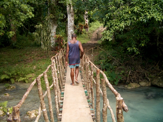 Melanesian man walking on wooden bridge at Cascades