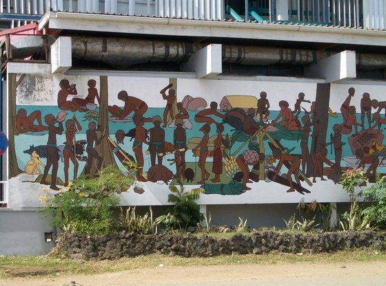 Handpainted wall mural in Port Vila, about Vanuatu daily life