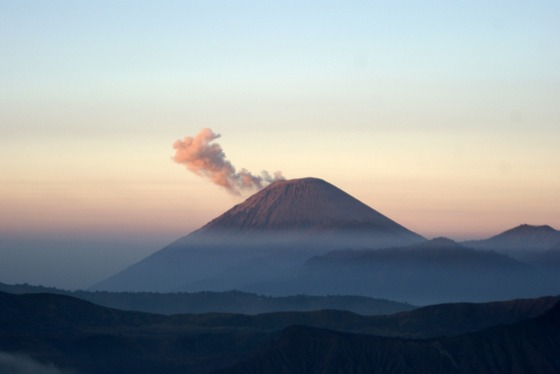 A tropical volcanoe in mist